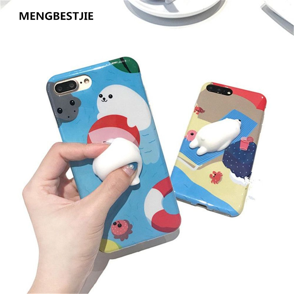 Hot Squishy Sea Seal Polar Bear Soft TPU Back Case Cover for iPhone 6 6s 7 Plus protective plastic back case cover for iphone 6 plus black