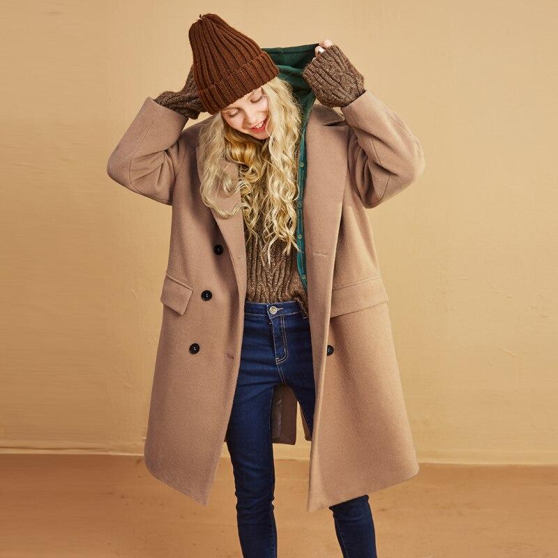 ELF zak 29.1% Wollen Jassen Vrouwen Winter Hooded Nep Twee Stukken Vrouwen Lange Jassen Losse Zakken Bovenkleding Vrouwelijke Casual Jassen-in Wol en mengsels van Dames Kleding op  Groep 3