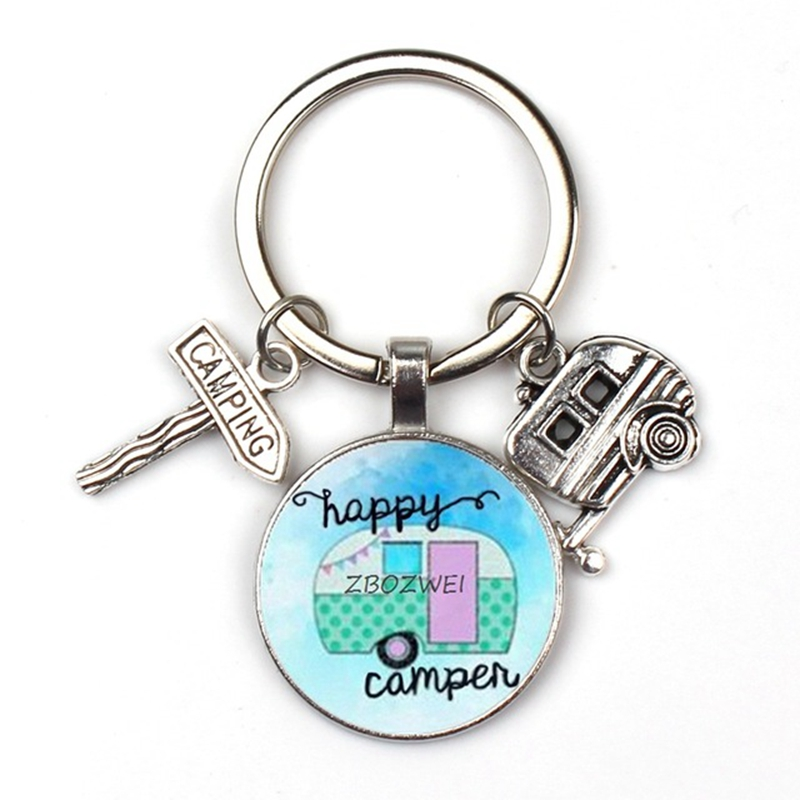 2019 new cute trailer street sign key ring camper car pattern key chain children car charm bag men women jewelry favorite gift in Key Chains from Jewelry Accessories