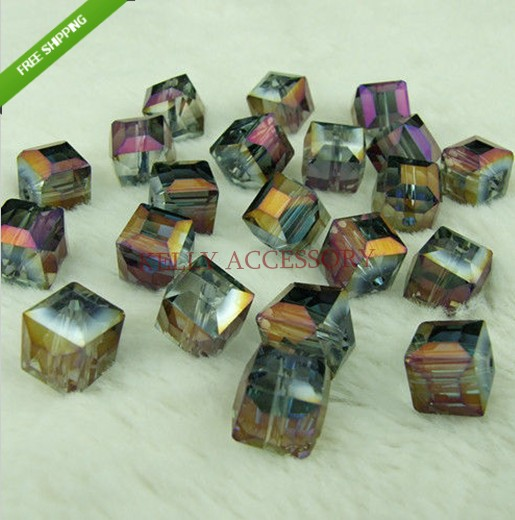 Free Shipping Wholesale 100pcs/lot 10mm Purple Gold Crystal Glass Faceted Square Curtains Diy Beads In Bulk For Jewelry Making Beads