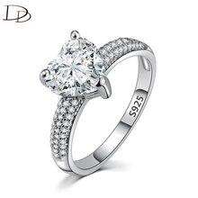 注ぐ Bagues ドードーシルバー色女性ビッグハートの石のジュエリー婚約結婚指輪指輪女性の高級と操作 Dd048