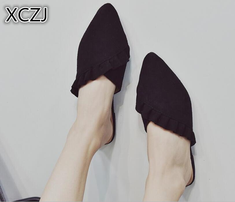 XCZJ Women flat Slipper summer shose women 2018 lace half slippers Pointed toe sexy flip ...