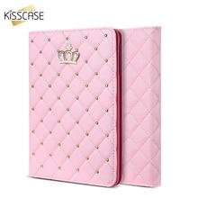 KISSCASE Portada Del Libro Para el ipad Mini 1 2 3 Bling Crown Lindo Tirón de La Manera Funda de piel Para iPad Mini1 Mini2 Mini3 Caso Para iPad