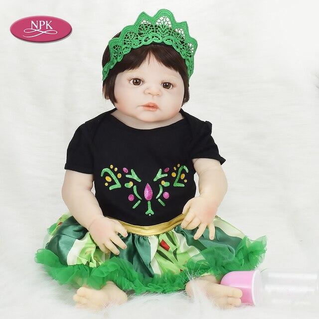 beda48065 NPK 57CM Lifelike Princess Girl Reborn Baby Doll Girl Bathe Toys Real Full  Body SIlicone Realistia Bebe Reborn Menina Bonecas
