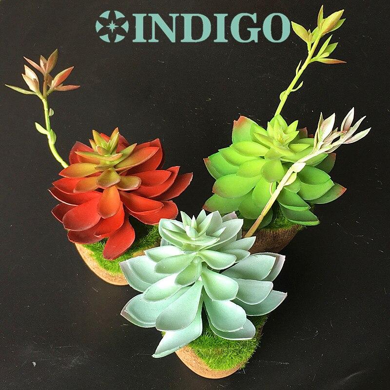 Gekwalificeerd Indigo-1 Set Vetplant Bonsai Kunstmatige Plastic Bloem Kantoor Tafel Decoratie Groene Plant Achtergrond Gratis Verzending Elegante Vorm