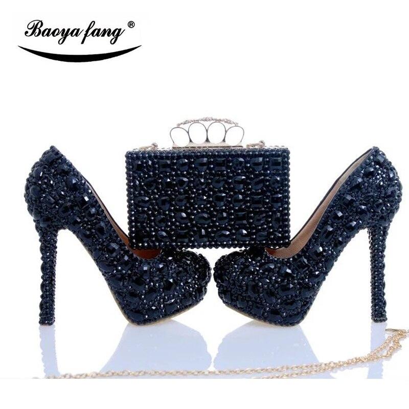 Chaussures de mariage cyrstal noir de luxe avec sacs assortis chaussures de diamants de mode femme talons hauts chaussures de plate-forme femme grande taille