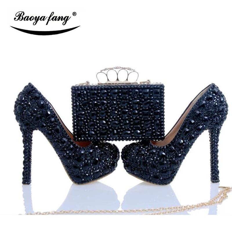 Luxe Noir cyrstal chaussures de mariage avec correspondance sacs femme mode Diamants chaussures Haute talons Plate-Forme Des Femmes chaussures Plus La taille