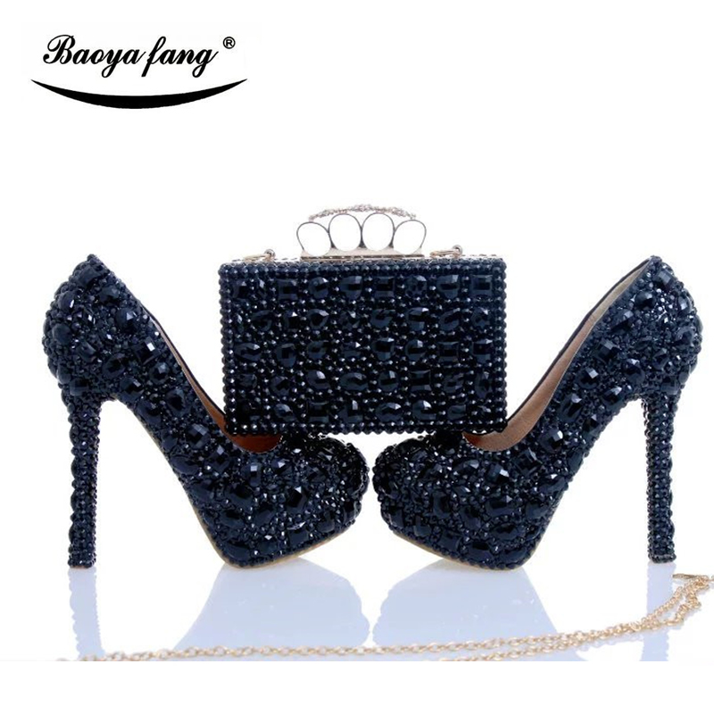 Luxury Black cyrstal wedding shoes with matching bags woman fashion Diamonds shoes High heels Womens Platform shoes Plus size baoyafang red crystal womens wedding shoes with matching bags bride high heels platform shoes and purse sets woman high shoes