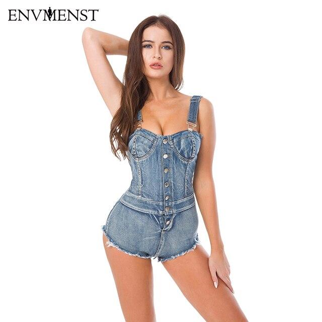 34fa2513dd 2018 Summer Bandage High Cut Jeans Denim Jumpsuit Women Bodysuit Adjustable Overalls  Romper Casual Skinny Pants