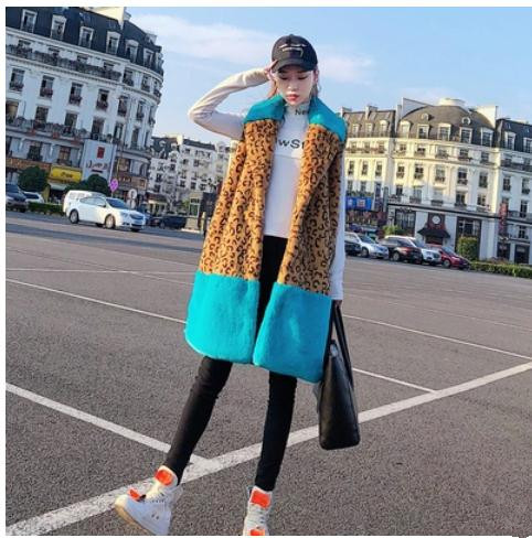 Leopardo Inverno Del J2561 Delle Nuovo Arrivo S Di Donne Femminile Finta Immitation Autunno Gilet Patchwork Pelliccia xl 1ZqIp