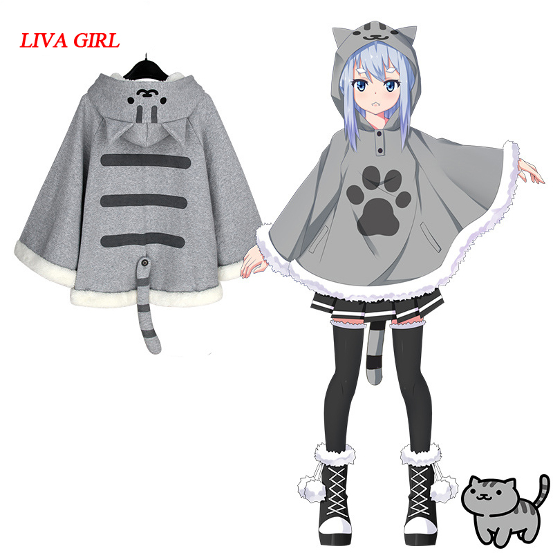 Harajuku Neko Atsume Cosplay Cloak Winter Cute Cat Hoodies Coat Daily Fleece Cloak Xmas Gift Lolita Tops