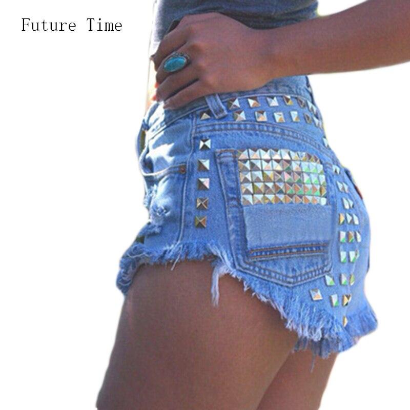 Dámská móda Vintage Tassel Ripped Loose High Waisted Krátké džíny Punk Sexy Hot Woman Denim Šortky Doprava zdarma C0471