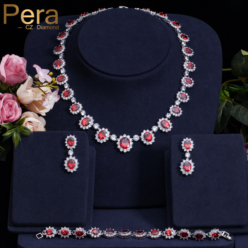Pera Luxurious Bridal Wedding 3 Pcs Jewelry Set Big Round Cubic Zirconia Red Choker Necklace Earring Bracelet Set For Women J013