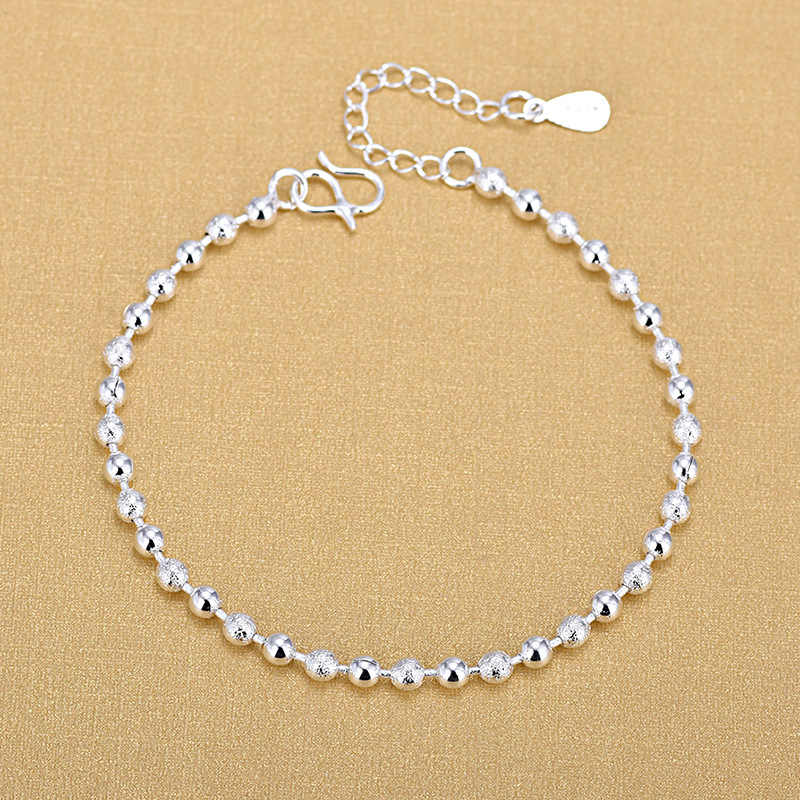 Free Shipping Top Quality Wholesale Smooth With Matt Beads Bracelets 925 Silver Fashion Bracelets Fine Fashion Bracelet