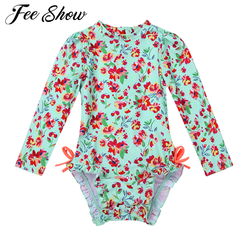 Baby Toddler Girls One-piece Long Sleeves Swimwear Floral Printed Back Zipper with Ruffled Butt Swimsuit Bathing Suit Rash Guard