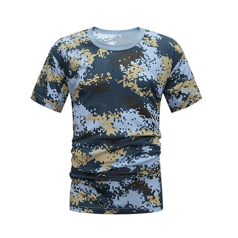 Camiseta de camuflaje deportivo cómoda de compresión para hombre, camiseta transpirable de secado rápido para verano, camiseta táctica del ejército ajustada