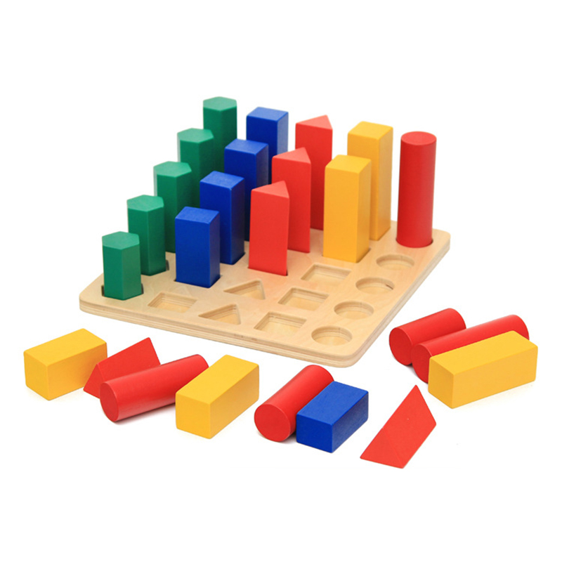 Baby Toy Montessori Wood Toy Colorful Geometry Cylinder Early Childhood Education Preschool Training Kids Toys for Children Gift