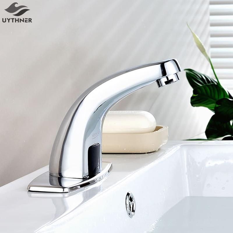Uythner автоматический Сенсор Chrome латунь Ванная комната смеситель Водопад Носик смесителя