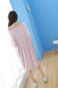 Image 5 - 2019 summer plus size night dress women loose soft sexy strapless sleepwear nightgowns sleepshirts sleepdress home outfits
