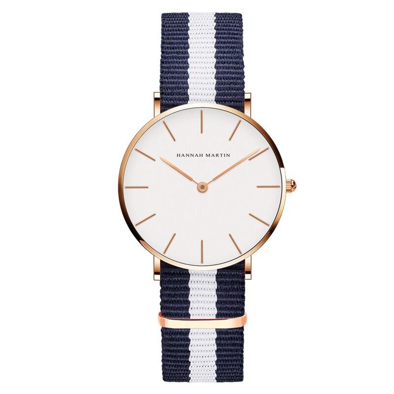 Hannah Martin Women's Watch Nylon Strap Top Brand Luxury Watches Fashion Casual Ladies Quartz Wristwatch Hot Sale Montre Femme