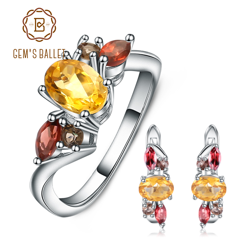 GEM S BALLET Natural Citrine Smoky Quartz Garnet Ring Earrings 925 Sterling Silver Gemstone Jewelry Set