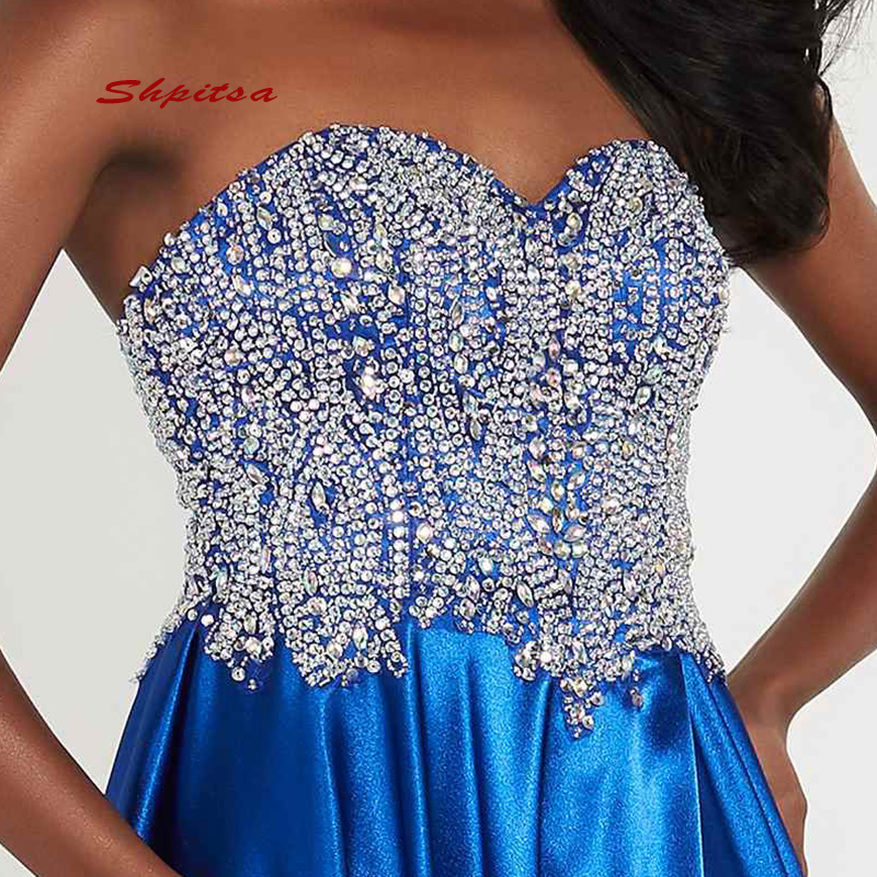 Paillettes longues robes de grande taille de bal femmes Sequin 8th Grade bleu Royal robes de soirée de bal pour robe de Graduation - 5