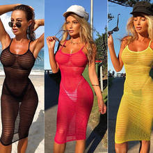 2019 Women Sexy Mesh See-Through Clothe Cover Up Swimsuit Swimwear Beach Dress(China)