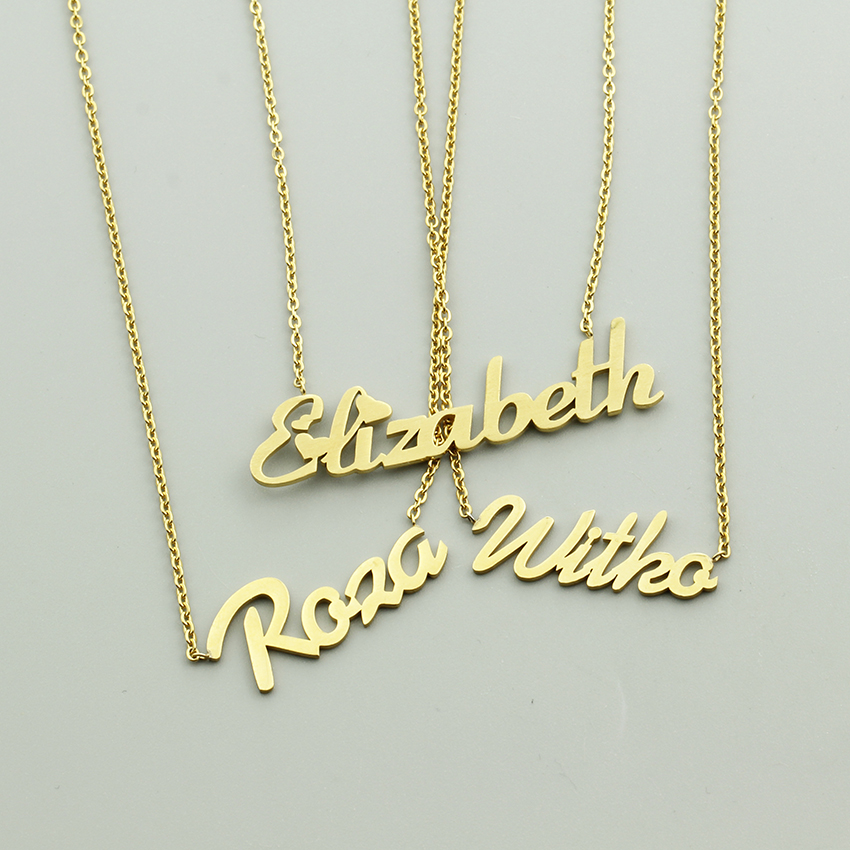 Handmade Personalized Custom Script Name Necklace Women Girls Best Gift Customize Nameplate Initials Letter Necklaces Jewelry