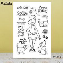 AZSG Benevolent Housewife Cute Dog Clear Stamps For DIY Scrapbooking/Card Making/Album Decorative Silicon Stamp Crafts