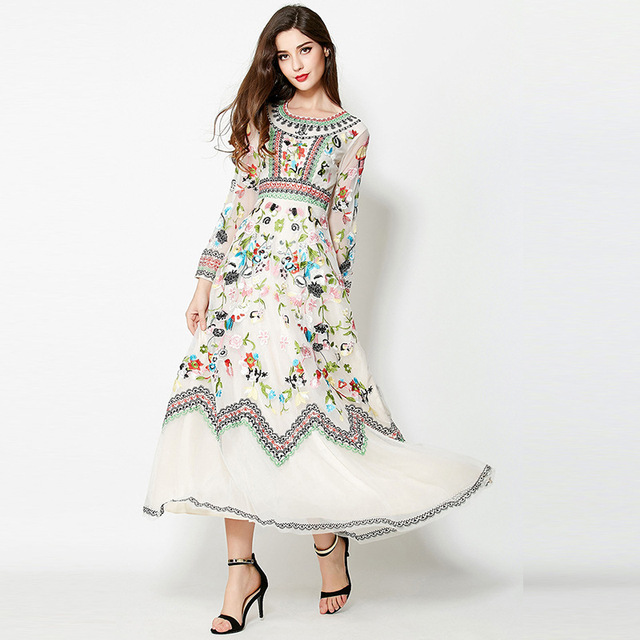 2018 Trend Lace Maxi Long Dress Summer Antumn Boutique Floral Embroidery  Vintage Slim See-through 80804f10742a