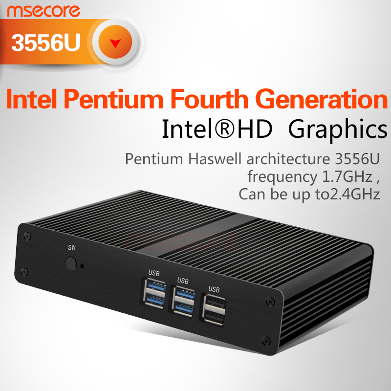 Intel Pentium3556 Fanless Mini PC Desktop Computer NUC Windows 10 thin client Nettop barebone system HTPC