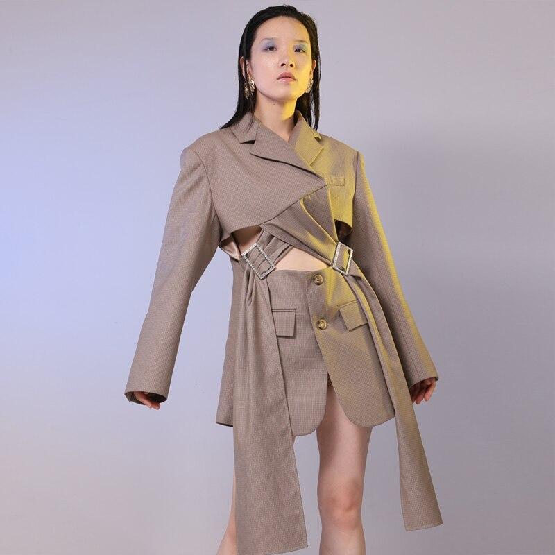 Manteau Sexy Deux Croix Brown Tops Costume Blazers Getsring Manches Femmes Boucle Irrégulière À Femme Blazer Automne Faux Longues Bandage Plaid xw68HqZ87