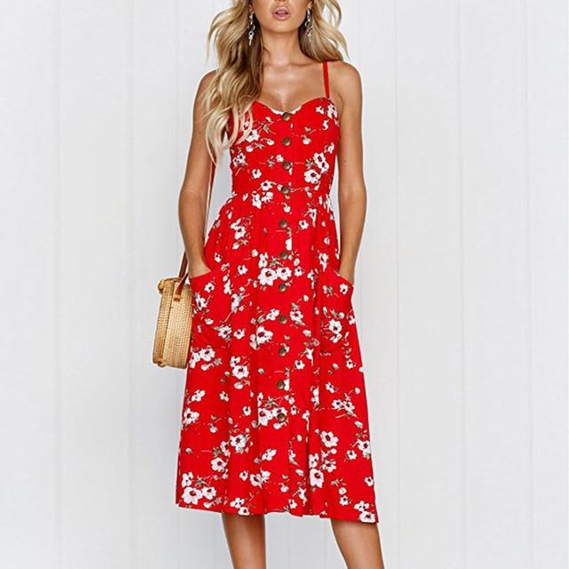 Casual Vintage Sundress Women Summer Dress 2019 Boho Sexy Dress Midi Button Backless Polka Dot Striped Floral Beach Dress Female 3