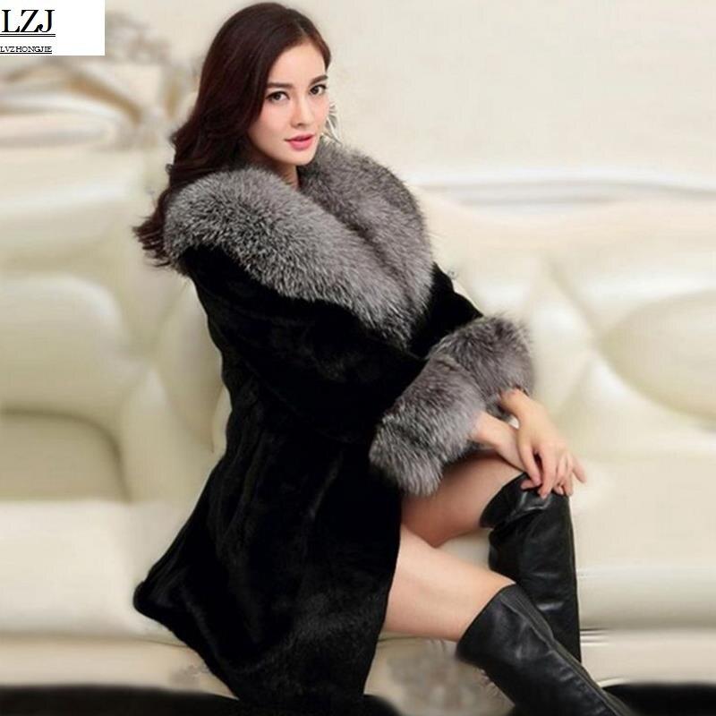 Usine Direct fournisseur collier renard fausse fourrure manteau femmes long hiver mode en peluche mince à capuchon épaissi daim grande taille 2017 nouveau