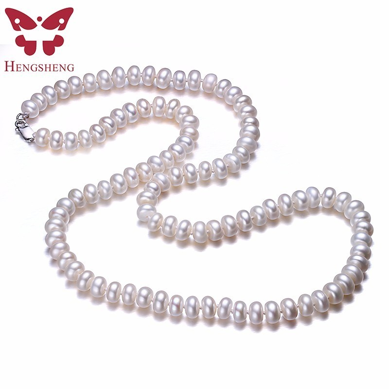 Hengsheng Real White Natural Freshwater Pearl Women Necklaces