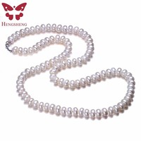 Hengsheng Real White Natural Freshwater Pearl Women Necklace 8 9mm Beads Jewelry Necklace 60cm Length Necklace