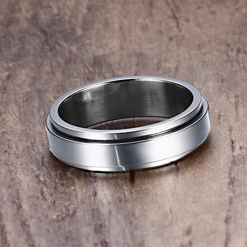 Vnox 6 мм spinner кольцо Для мужчин Jewelry Нержавеющая сталь двойная петля Дизайн байкер