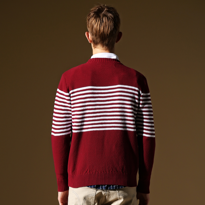 Striped Men Sweater Brand Mens Christmas Sweater Long Sleeve