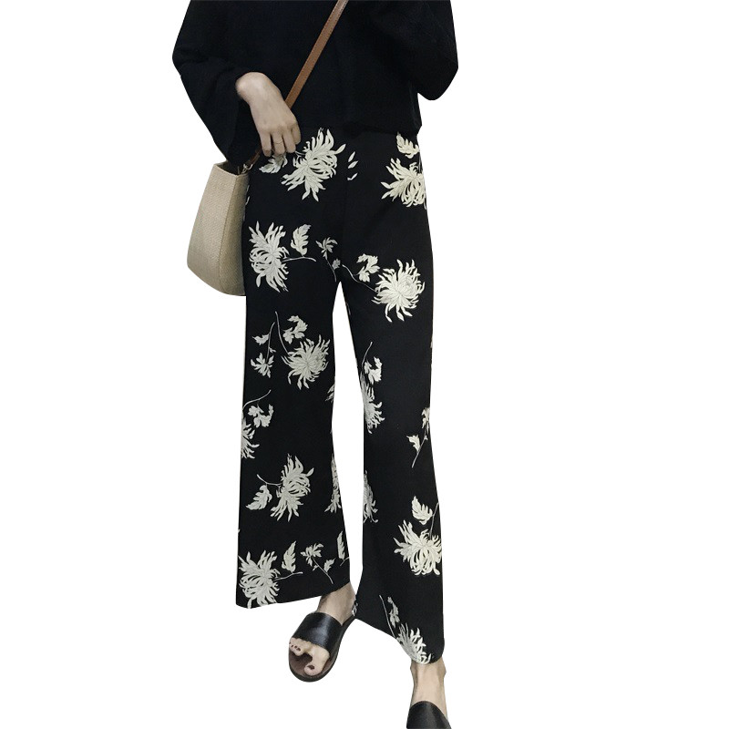 Spring Summer New Women Hong Kong Brand Retro   Pants   FlowersLoose Casual High Waist   Pants   Gilrs Nine Length   Wide     Leg     Pants