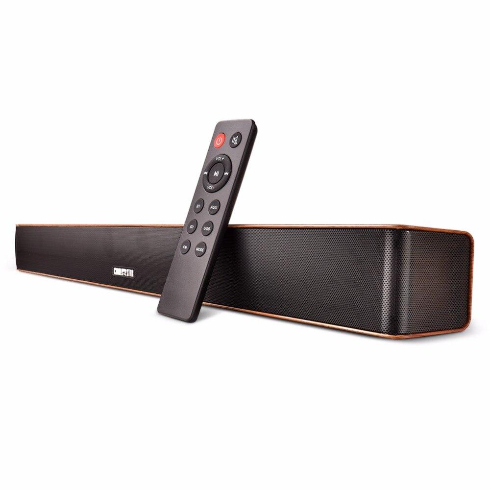 Беспроводной Саундбар деревянный 24 Вт портативный мини-звуковая панель с пультом ДУ AUX USB FM Bluetooth динамик для ПК встреча Йога вечерние Вечери...