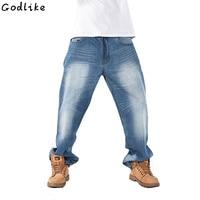 2019 New Jeans Men Hip Hop Trousers Fashion Denim Fat Pants Man Big Size Blue Denim Fit Jeans Size 30 To 46 Skateboard pants