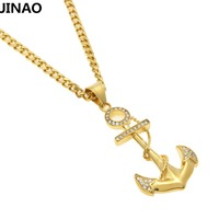JINAO Hip Hop Stainless Steel Crystal Gold Color Plated Anchor Pendant Necklace Men Women Charm Fashion