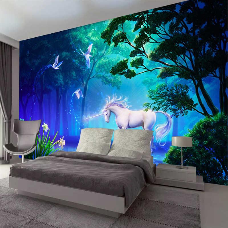 العرف صور خلفيات غرفة المعيشة أريكة التلفزيون حائط الخلفية الديكور اللوحة الغابات يونيكورن كبيرة جدارية للجدران ثلاثية الأبعاد