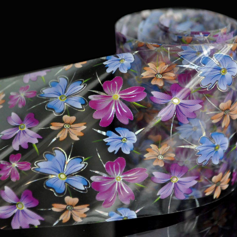 Lila Blau Orange Blumen Nagel Folien Nailart Transfer Aufkleber ...