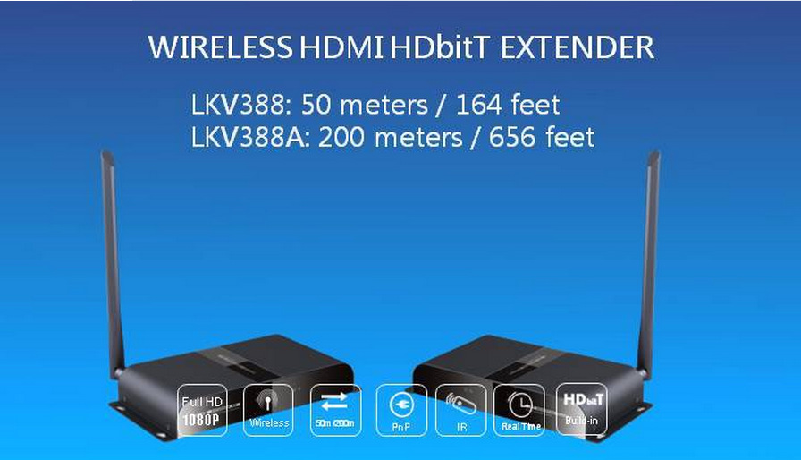 Newest HD1080P 3D Wireless HDMI Video Transmitter and Receiver IR-HDBitT Extender up to 50M/164 Feet HDMI Converter Cable KV388