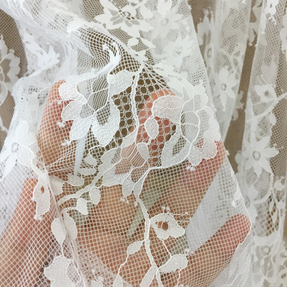 Wedding Gown Fabric Guide: 5 Yards/lot Soft Floral Chantilly Lace Fabric For Wedding