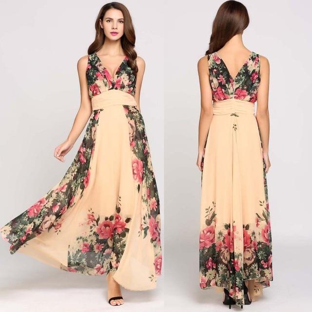 b48cfc191 2017 mujeres del verano dress vintage boho dress floral playa maxi vestidos  largos sin mangas estampado