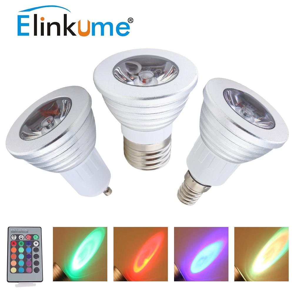 Elinkume E27 RGB Scheinwerfer GU10 E14 Led lampe 3 Watt Bunte Birne ...