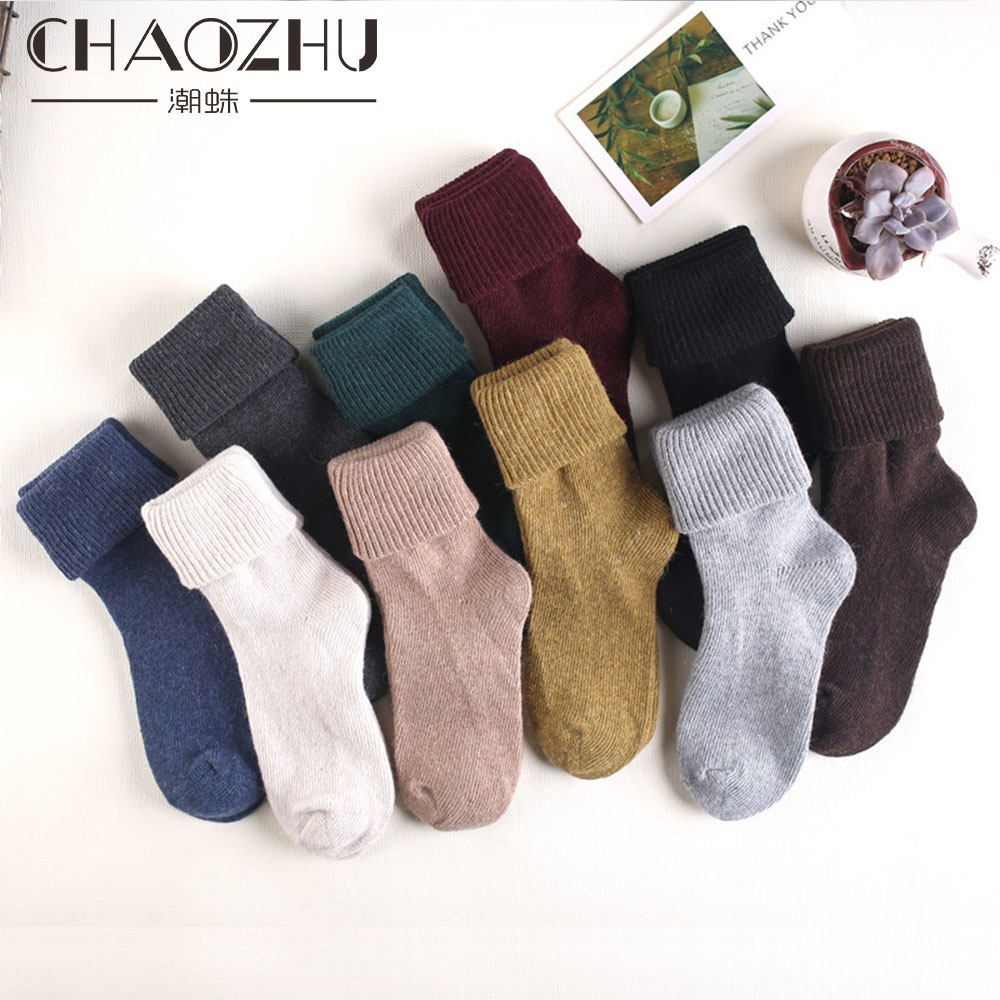 Winter Thicken 80% Wool Warm Loose Socks 10 Kinds Of Solid Colors Basic Winter Women Socks Art Retro Style Red Yellow Green