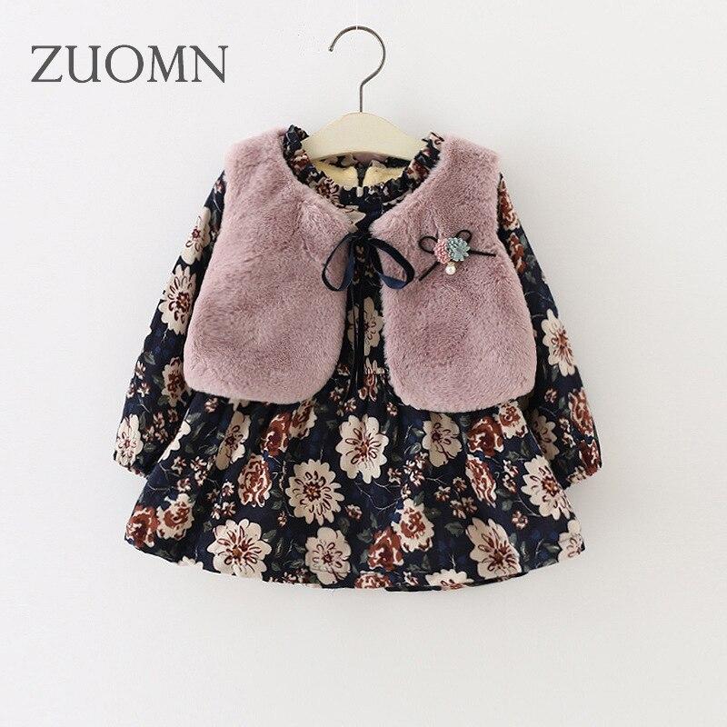 Filles vêtements ensembles deux pièces velours robe + gilet chaud épaissir bébé filles tenues costumes ensembles pour filles enfants vêtements YL295